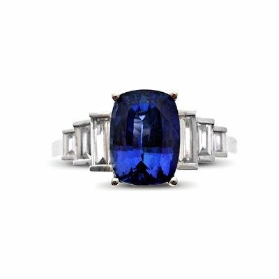 Sapphire and Baguette Cut Diamond Ring 2.19ct